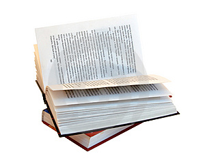 The opened book atop of other book Stock Photography