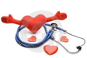 Cuore e uno stetoscopio Immagine Stock