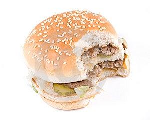 The Taken A Bite Hamburger Royalty Free Stock Photo - Image: 5331015
