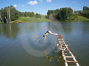 Jumping Into Water Stock Photos - Image: 5348813