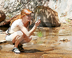 An Outdoor Lady With Camera Royalty Free Stock Photos - Image: 5356288