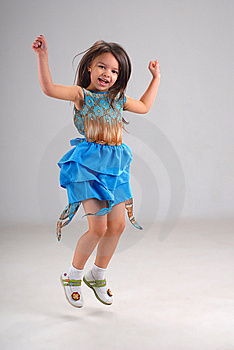 Cute Little Jumping Girl Royalty Free Stock Photo - Image: 5380455