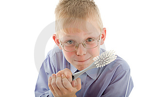 Boy Holding Brush And Prepare To Clean Stock Photos - Image: 5383983