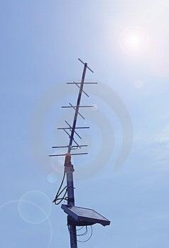Solar Power Antenna In Sun Glare Stock Photos - Image: 5387993