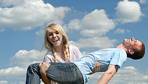 Girl Takes On Hands Of The Young Man Stock Photo - Image: 5388550