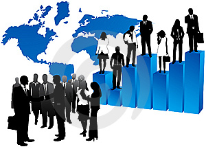 Business people and map Free Stock Photo