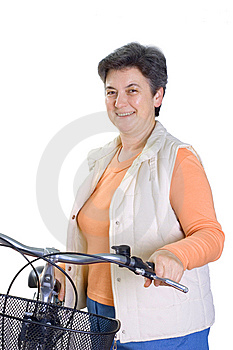 Senior woman on cycle Stock Photography