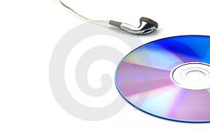 Blue CD And Earphone Royalty Free Stock Photo - Image: 5395025