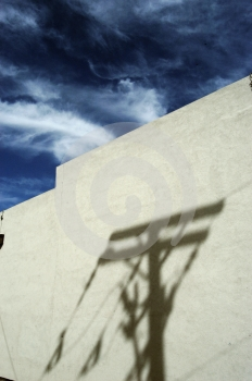 Wall With Utility Pole Shadow Stock Photography - Image: 540832