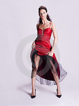 Young Woman In Red Dress Royalty Free Stock Images - Image: 5406999
