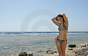 Pretty Woman At The Sea Royalty Free Stock Photo - Image: 5408285
