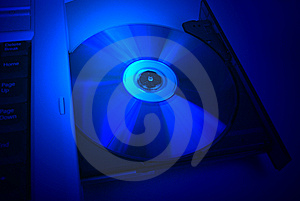 Disc Drive Cd-rom Blue Movie Royalty Free Stock Images - Image: 5410829