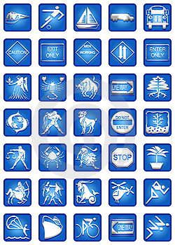 Blue Square Icons Set Part4 Stock Images - Image: 5413114