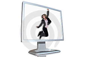 Businesswoman Jumping Royalty Free Stock Photo - Image: 5415545