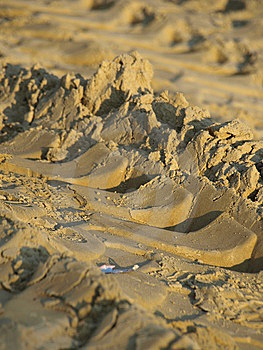 Tracks On The Sand Stock Images - Image: 5417334