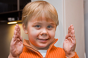 Little Boy Showing Size Of Something Stock Photo - Image: 5419140