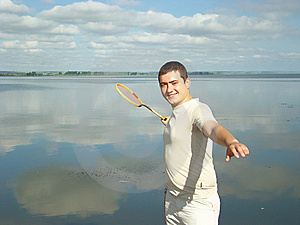 Fellow With A Racket. Royalty Free Stock Photography - Image: 5420857