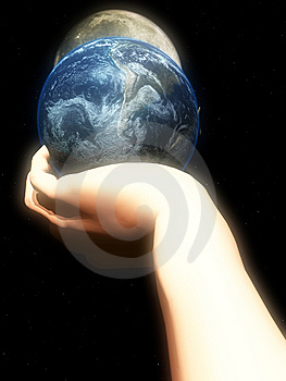 Earth In Hand At Night Royalty Free Stock Photography - Image: 5423137