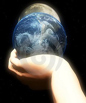 Earth In Hand At Night  Royalty Free Stock Photos - Image: 5423138