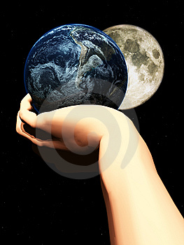 Earth In Hand At Night  Royalty Free Stock Images - Image: 5423149