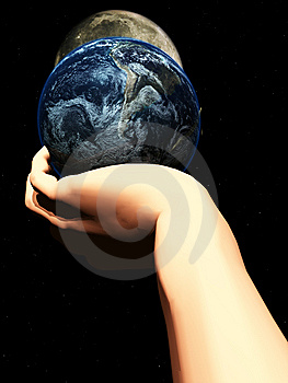 Earth In Hand At Night  Royalty Free Stock Photos - Image: 5423158