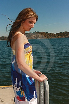 Model Posing By Water Stock Photography - Image: 5424102