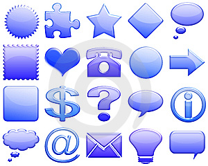 Darkblue Tones Glossy Icon Set 101 Royalty Free Stock Images - Image: 5425479
