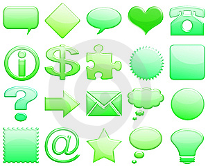 Green Tones Glossy Icon Set 101 Royalty Free Stock Image - Image: 5425876