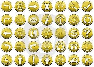 Icon Set Yellow 1 Royalty Free Stock Images - Image: 5426429