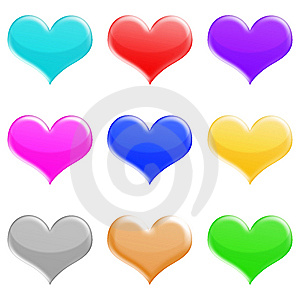Heartsshinyset Royalty Free Stock Images - Image: 5426729