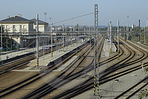 Railway Station With Buildings And Platforms Royalty Free Stock Photography - Image: 5427337