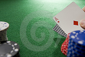 Gambling Hand With Ace Stock Image - Image: 5433551