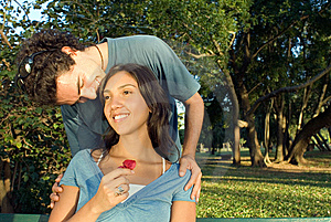Man Kissing A Woman's Head - Horizontal Royalty Free Stock Images - Image: 5433919