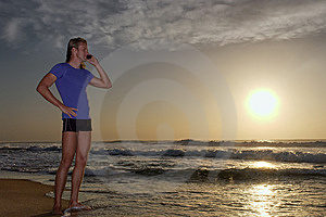 Young Man Listens Over Mobile Phone Stock Image - Image: 5435091