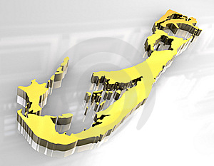 3d Golden Map Of Bermuda Royalty Free Stock Image - Image: 5435726