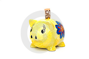 Fifty Euro And Piggy Bank. Stock Image - Image: 5438221
