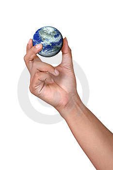 Hand Holding A Miniature Earth Royalty Free Stock Photos - Image: 5439648
