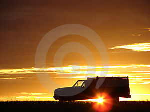 Old Vehicle At Sunset Royalty Free Stock Photos - Image: 5441728