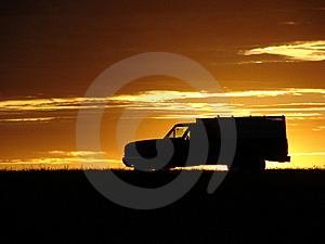 Old Vehicle At Sunset Royalty Free Stock Photo - Image: 5441745