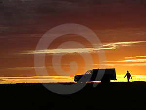 Old Vehicle At Sunset Royalty Free Stock Images - Image: 5441779