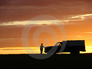 Old Vehicle At Sunset Royalty Free Stock Photography - Image: 5441787