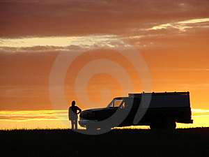 Old Vehicle At Sunset Royalty Free Stock Image - Image: 5441796