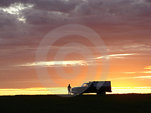 Old Vehicle At Sunset Royalty Free Stock Images - Image: 5441809