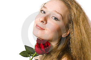 The  Blonde With A Rose Stock Photo - Image: 5443230