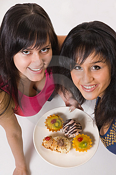 Two  Girls With Cakes Royalty Free Stock Image - Image: 5443346