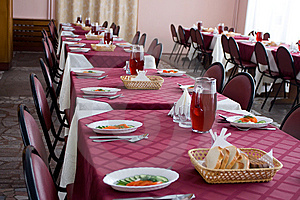 Served Tables In Restaurant Royalty Free Stock Image - Image: 5446326