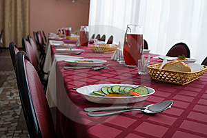 Served Tables In Restaurant Royalty Free Stock Photography - Image: 5446327