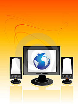 Monitor And Speakers Royalty Free Stock Photography - Image: 5450917