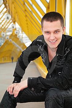 Smiling Guy  On Footbridge Stock Photos - Image: 5451783