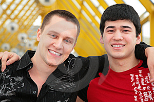 Two Friends On Footbridge Royalty Free Stock Image - Image: 5451866